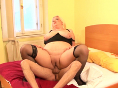 Horny blonde bbw gobbles down dick