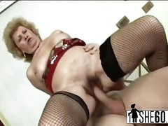Old granny fucking on touching younger lover in some reverse cowgirl then finishes him off in her indiscretion