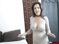 Stepson loves a smell of busty MILF stepmoms wringing wet pussy
