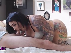 Tattooed BBW Blowjob, Doggystyle and Creampie