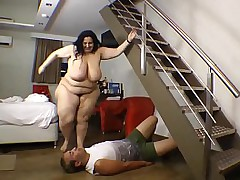 BBW Beamy Ass Trampled Laconic Guy Castigation